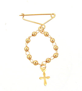 Gold filled rosary cross diaper pin