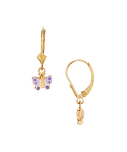 14 KT Gold Plated Silver Children's butterfly dangle earrings