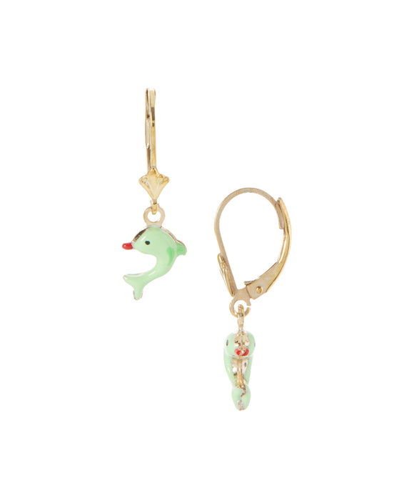 14 KT Gold Plated Silver Children's dolphin dangle earrings