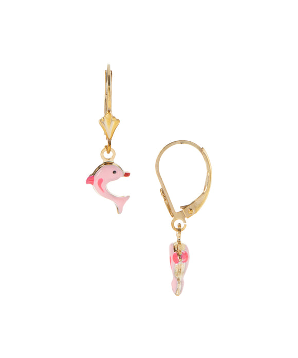 Pink+Enamel+Dolphin+gold+Plated+drop+earrings