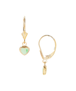 14KT+Gold+Plated+CHildren's+hearts+green+enamel+drops