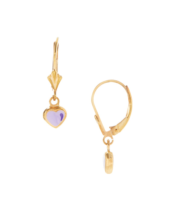 14 KT Gold plated silver Children's purple dangle earrings