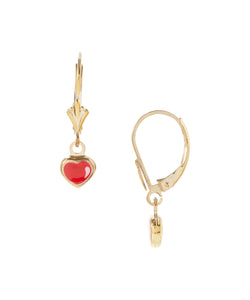14 KT Gold plated silver Children's heart dangle earrings