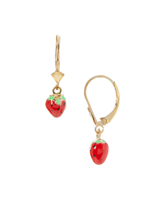 14 KT GP Children's Strawberry dangle back earrings