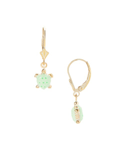 Gold Plated Sterling Children's turtle dangle earrings