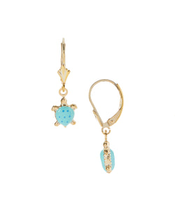 14 KT Gold Plated Silver Children's turtle dangle earrings