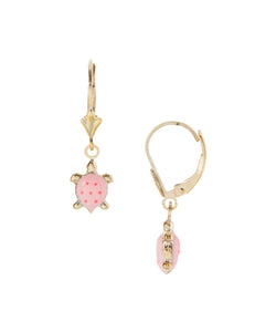 pink+turtle+dangle+earrings