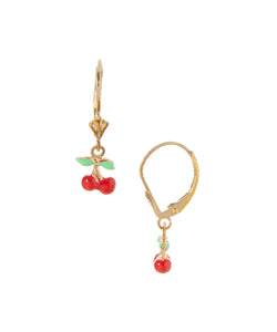 14 KT Gold Plated Children's Cherry dangle back earrings