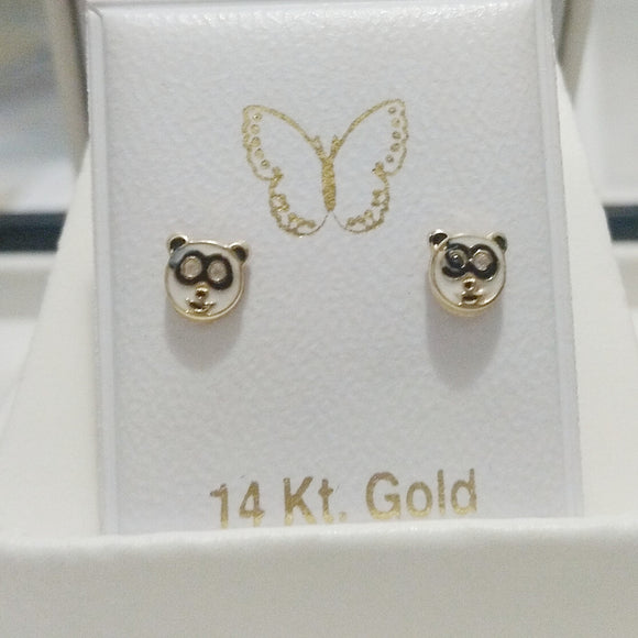 14 KT Children's Panda face Screw Back Earrings