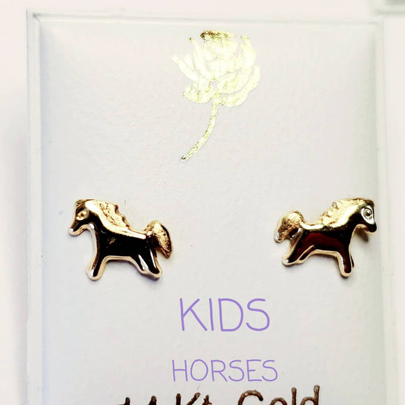 14 KT Horses Screw Back Earrings