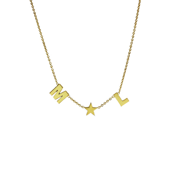 2 Letter Squad Necklace with Star 14KT gold 6mm. small letters