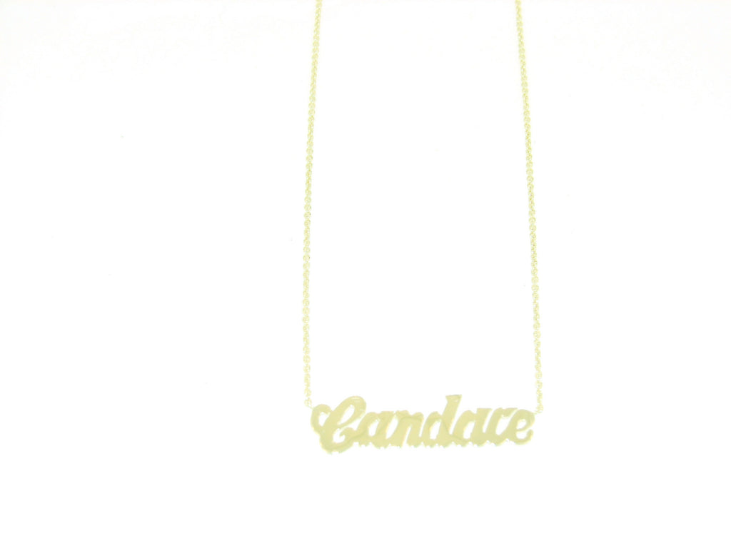 14 KT Gold Script Multiple nameplate necklace