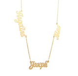Script multi name necklace 14KT gold