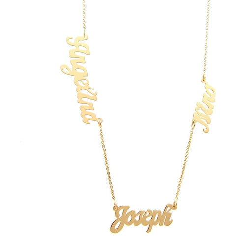 Multiple nameplate necklace script sterling or gold plated