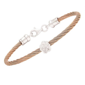 Diamond flower symbol children's bangle bracelet