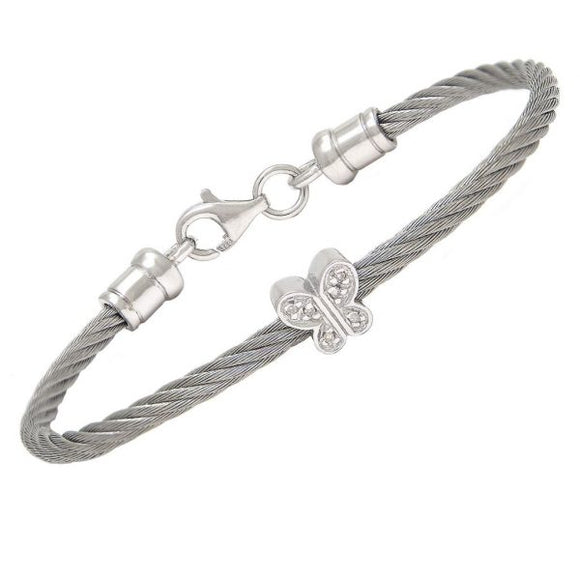 Children's bangle Butterfly diamond twist cuff