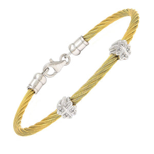Teen diamond twin silver flower symbols bangle