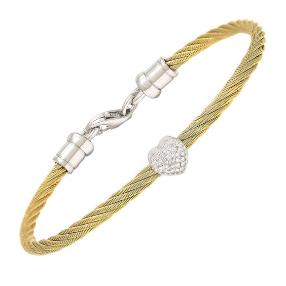 Children's Bangle Hearts with diamond accent 5.5 inches white