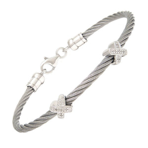 Teen diamond twin silver kiss symbols bangle