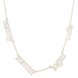 Multiple Name Necklace lower case letters two loops