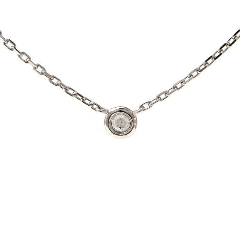 Sterling Silver Round bezel diamond necklace