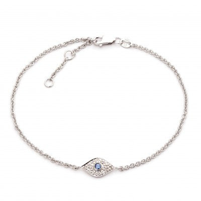 Sterling evil eye with diamond and sapphire