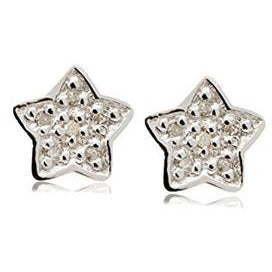 Diamond star post and clutch back silver