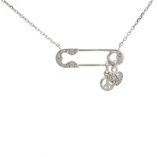Diamond safety pin Necklace peace sign and heart charms.