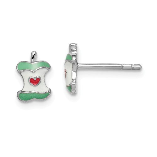 Sterling Silver Enamel Apple children's stud earrings