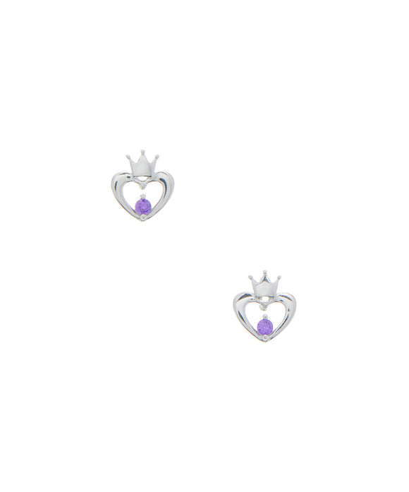 Hearts with crown top and purple cz stone stud earrings