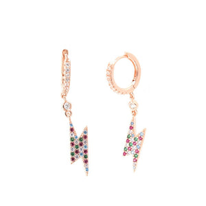 Sterling silver Rainbow Lightening Bolt huggie earrings