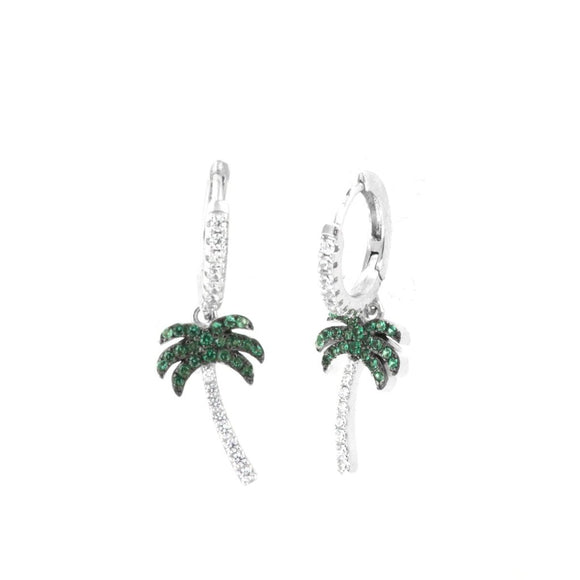 Sterling Silver Glimmer Palm Tree Huggie Hoop earrings