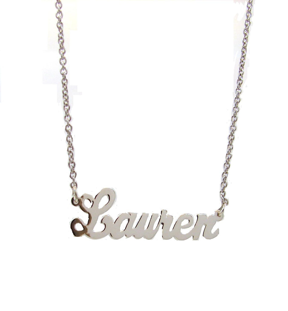 Deluxe sterling girl's script name necklace 15-17 inches