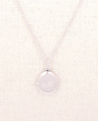 Sterling Silver Oval Locket Engraved Script Initial