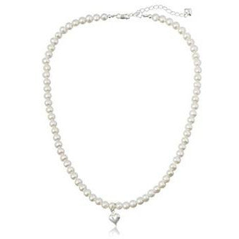 Princess Pearl Necklace with heart + 3 inch extender