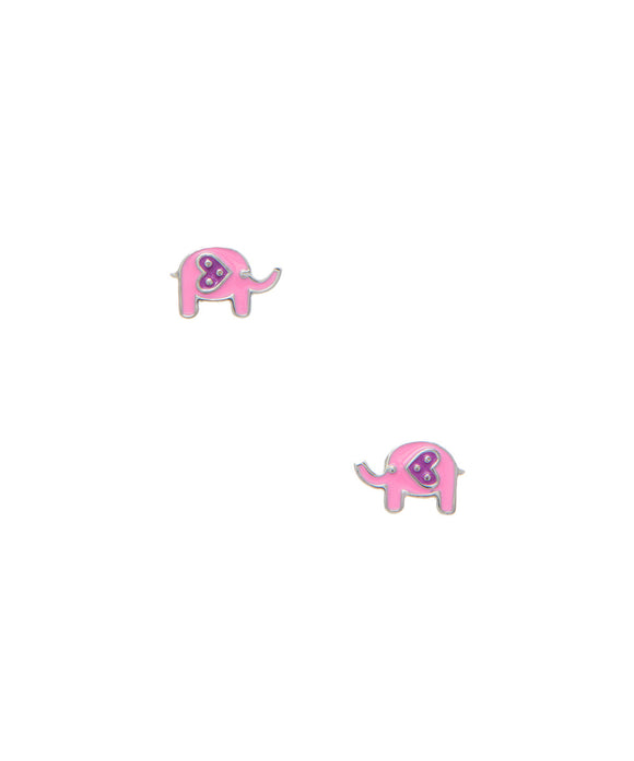 Sterling children's Pink Elephant stud earrings