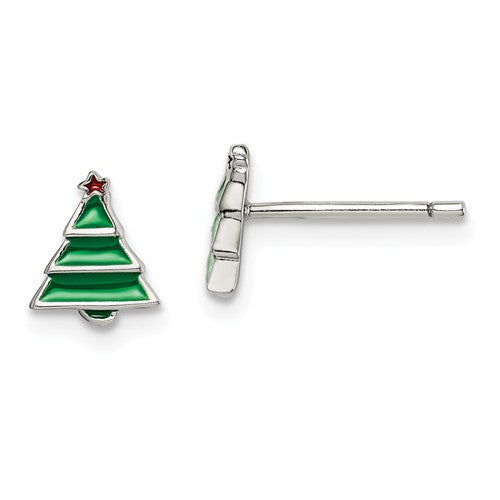 Sterling Silver Enamel Christmas Tree children's stud earrings