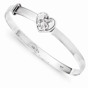 Infant expandable sterling silver bear bangle bracelet