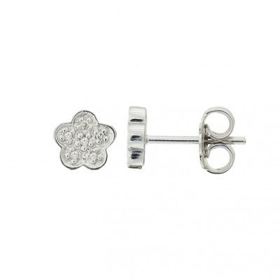 Sterling Diamond sterling Flower stud