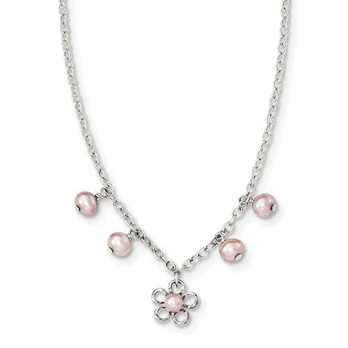 Flower and pearls children's necklace