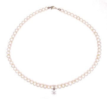 Sterling Pearl kid's Star of David necklace