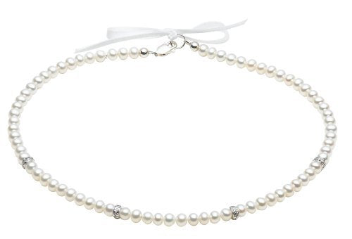Sterling Silver Children's Pearl CZ. Roundel Necklace
