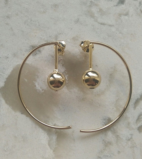 18 KT Gold layered Geometric hoop earrings