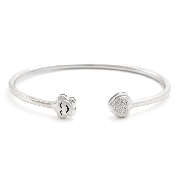 skinny cuff diamond smile heart flexible bangle