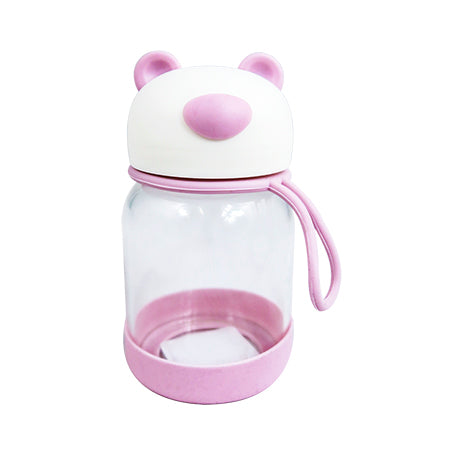 Joso Glass Bottle - Bear 300ML-Pink