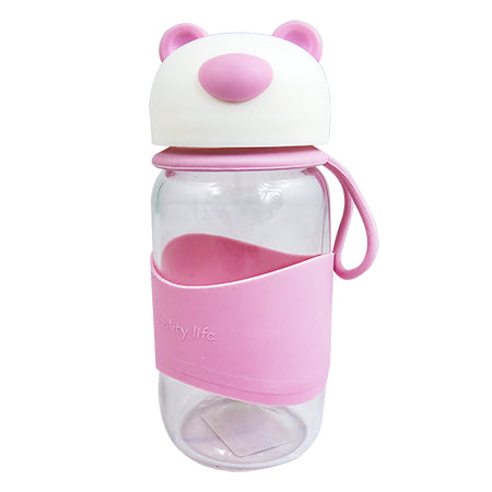 Joso Glass Bottle - Bear 400ML-Pink