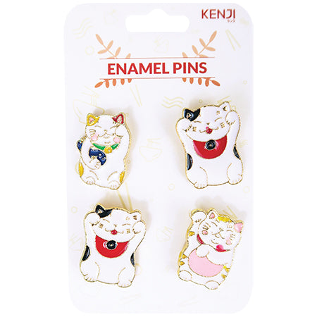 Metal Pin Badge 4pcs - Lucky Cat