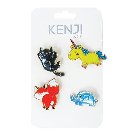 Metal Pin Badge 4pcs- Animal