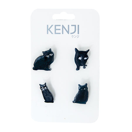 Metal Pin Badge 4pcs - Black Cat