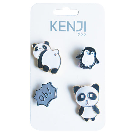 Metal Pin Badge 4pcs - Panda
